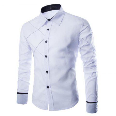 Hot Men's Casual Simple Spell Color Long Sleeves Shirts