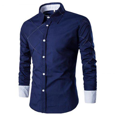 Fashion Men's Casual Simple Spell Color Long Sleeves Shirts