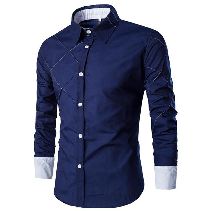 Trendy Men's Casual Simple Spell Color Long Sleeves Shirts