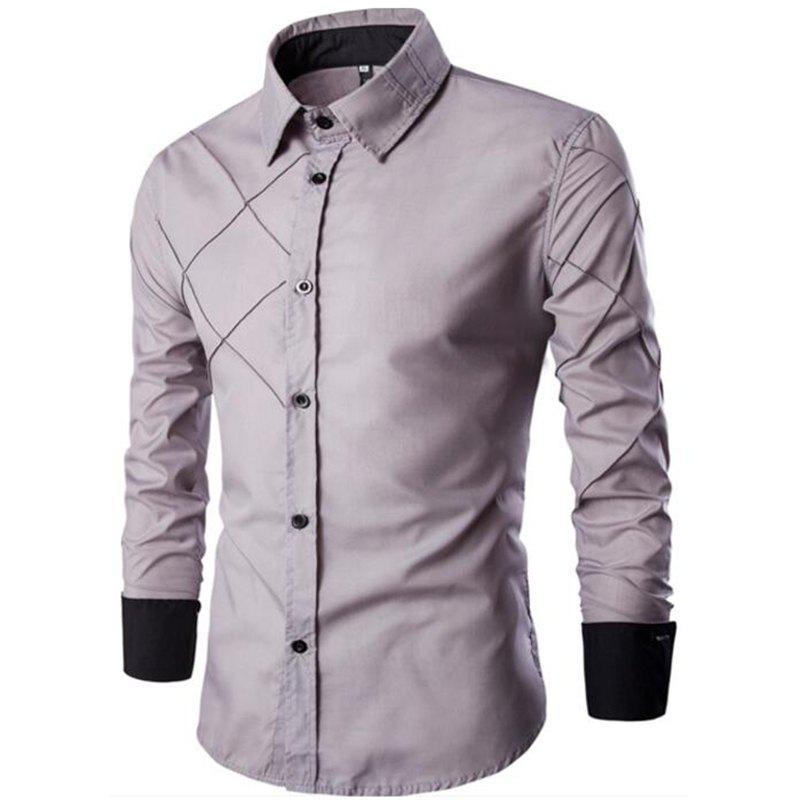 Sale Men's Casual Simple Spell Color Long Sleeves Shirts