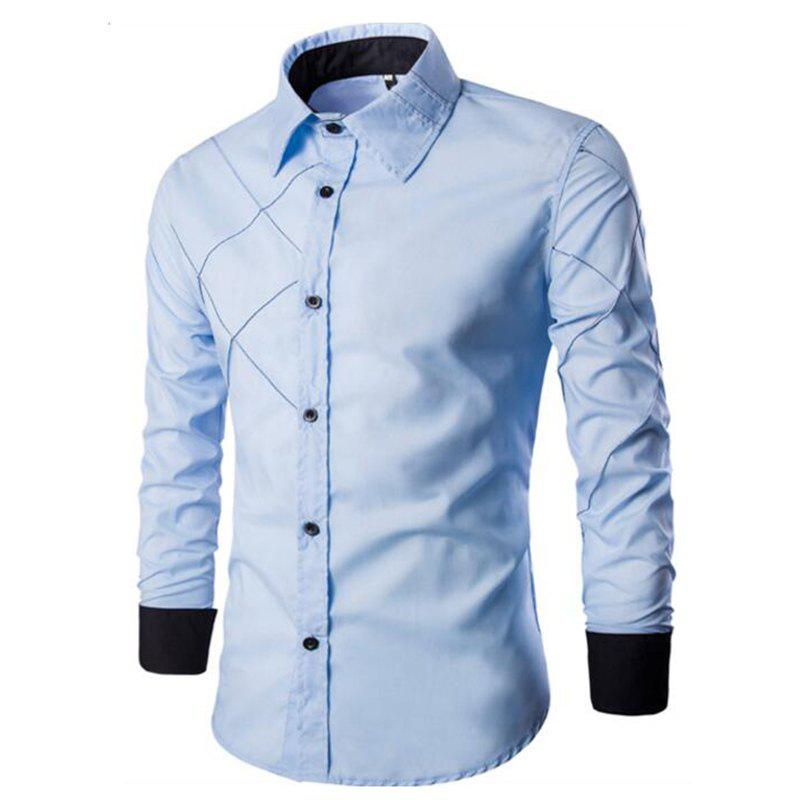 Discount Men's Casual Simple Spell Color Long Sleeves Shirts