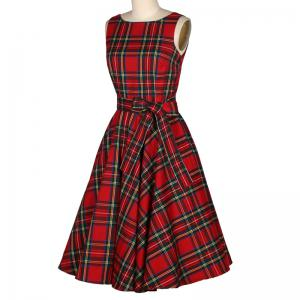 Women's Sear Vintage Red Checked One-Word Dress -