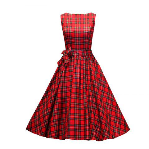 Outfits Women's Sear Vintage Red Checked One-Word Dress