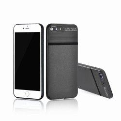 Luxury Leather Business Carbon Fiber Pattern PU Soft TPU Cover Case For iPhone 7 Plus / 8 Plus -