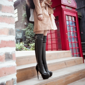 Women's Above Knee Boots Round Toe  Type Faddish Shoes -