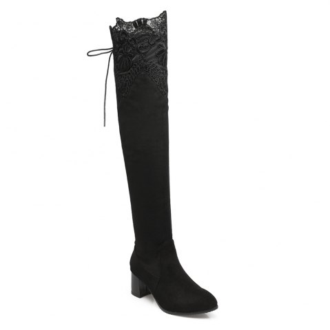 Store High Elastic Sexy Lace Knee High Stovepipe Winter Boots