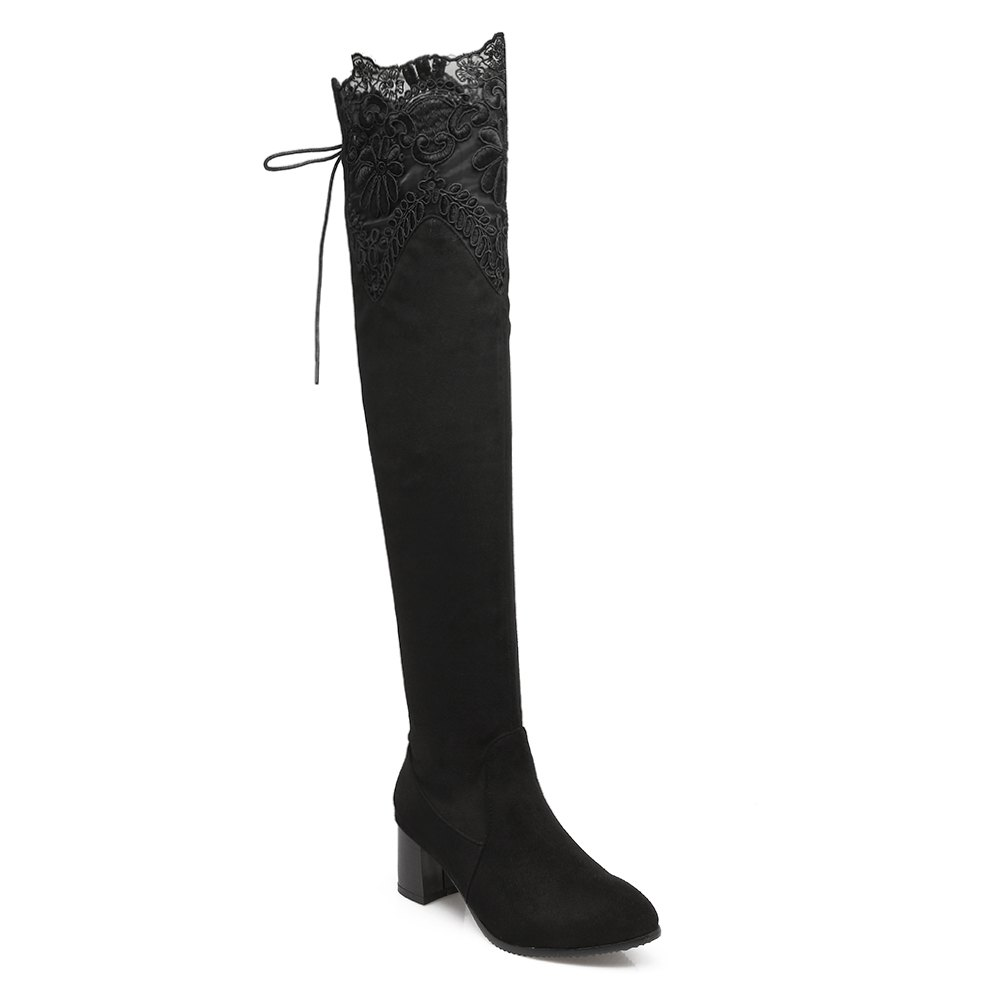 New High Elastic Sexy Lace Knee High Stovepipe Winter Boots