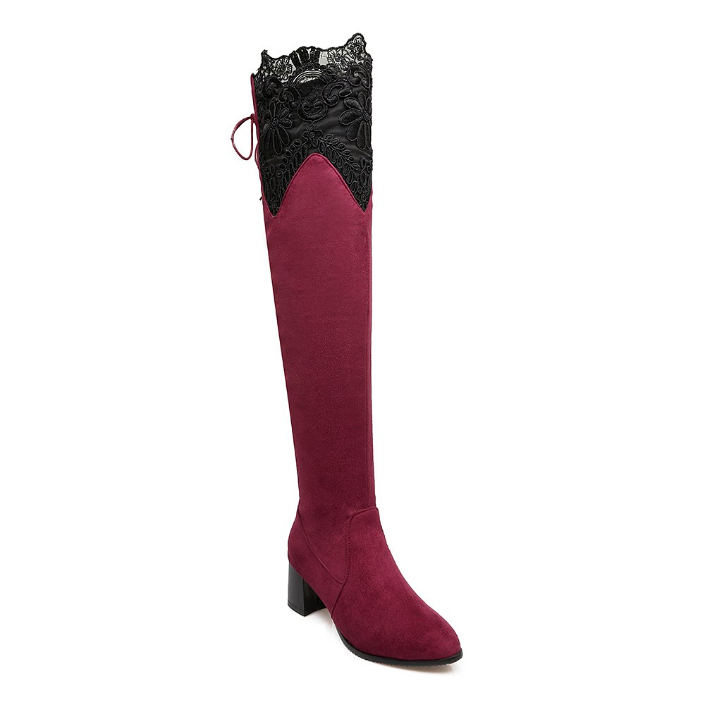 Cheap High Elastic Sexy Lace Knee High Stovepipe Winter Boots