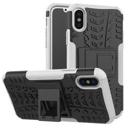 Double Protections Phone Bracket Anti-drop Bumper Relief Case Back Cover Protector for iPhone X -
