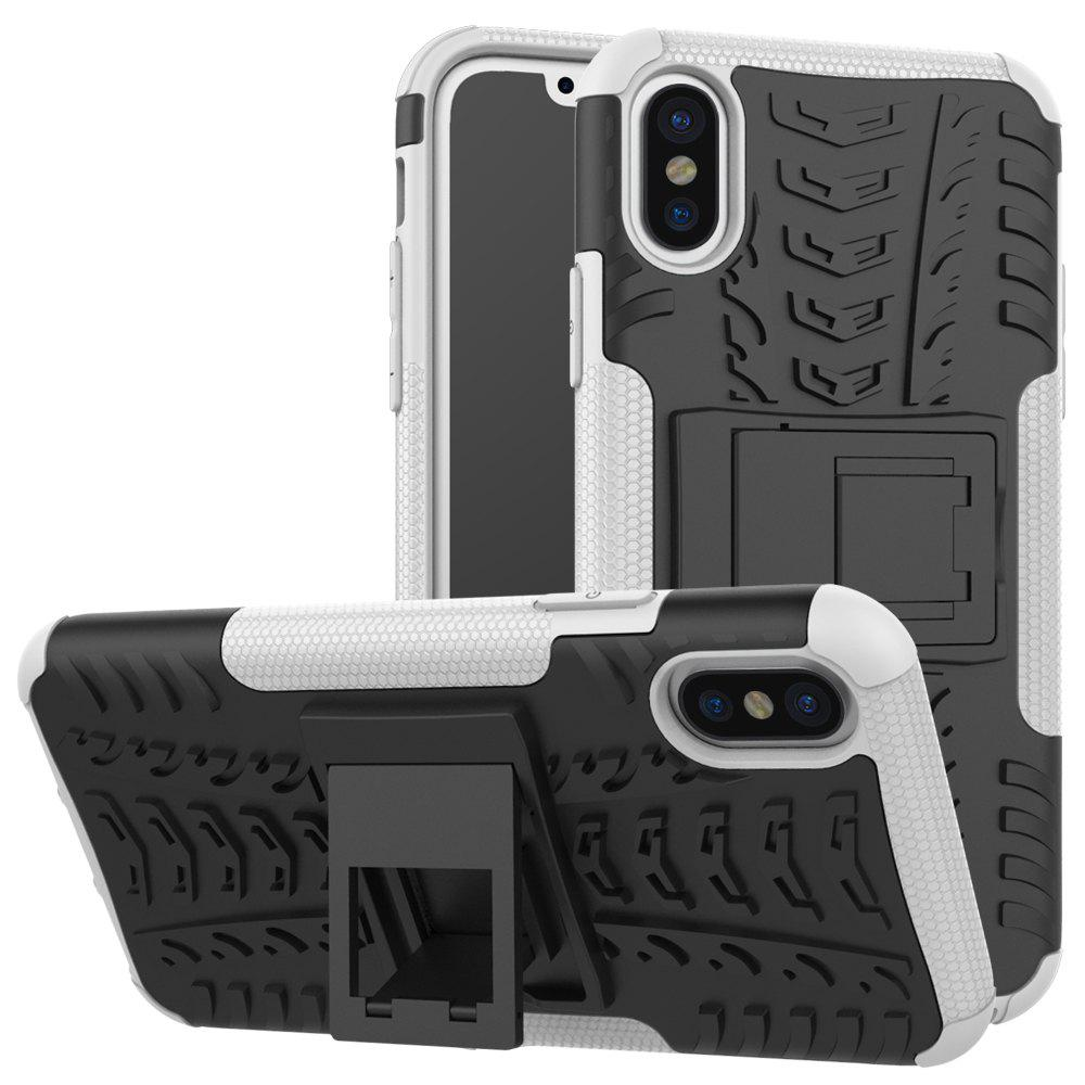 Shops Double Protections Phone Bracket Anti-drop Bumper Relief Case Back Cover Protector for iPhone X