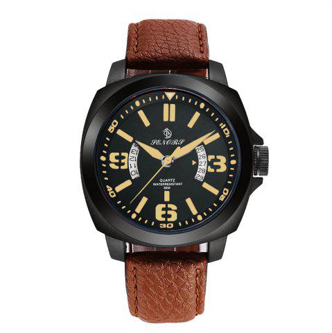 Discount Senors SN002 Fashion Business Date Quartz Watch with Leather Strap