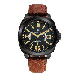 Senors SN002 Fashion Business Date Quartz Watch with Leather Strap -