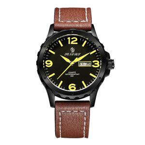 Senors SN003 Fashion Business Date Quartz Watch with Leather Strap -