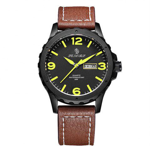 Shop Senors SN003 Fashion Business Date Quartz Watch with Leather Strap