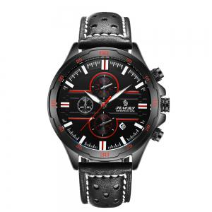 Senors SN007 Fashion Business Date Quartz Watch with Leather Strap -