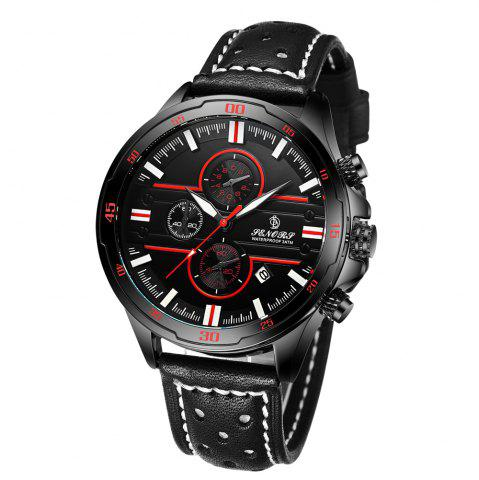 Best Senors SN007 Fashion Business Date Quartz Watch with Leather Strap