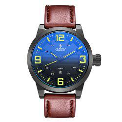 Senors SN014 Fashion Business Date Quartz Watch with Leather Strap -