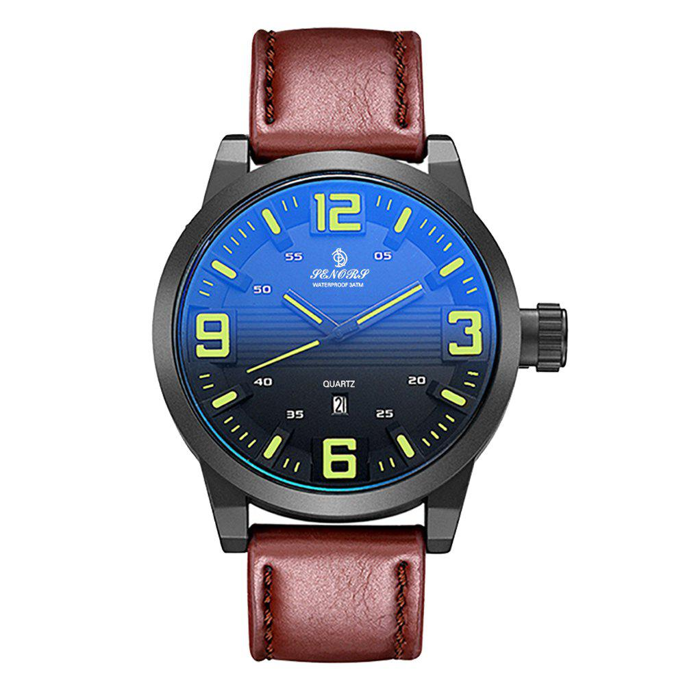 Sale Senors SN014 Fashion Business Date Quartz Watch with Leather Strap