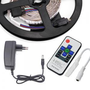 HML 2pcs 5M 24W RGB 2835 SMD 300 LED Strip Light with RF10Keys Remote Control+ DC Adapter(EU Plug) -