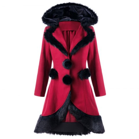 Hot 2017 Christmas Hair Collar Spliced Coat