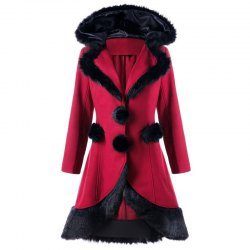 2017 Christmas Hair Collar Spliced Coat -