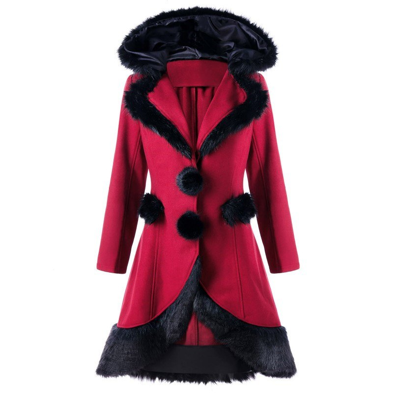 Discount 2017 Christmas Hair Collar Spliced Coat