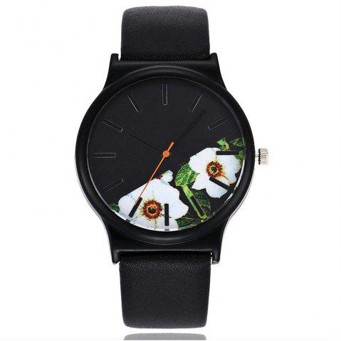 Unique Vintage Leather Band Women Flower Pattern Casual Quartz Watch