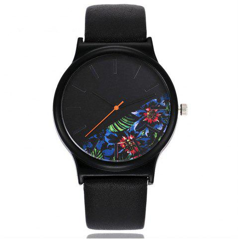 Shops Vintage Leather Band Women Flower Pattern Casual Quartz Watch