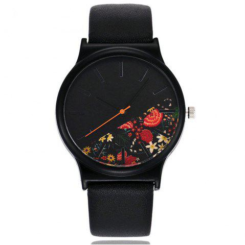 Trendy Vintage Leather Band Women Flower Pattern Casual Quartz Watch