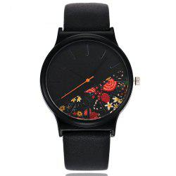 Vintage Leather Band Women Flower Pattern Casual Quartz Watch -
