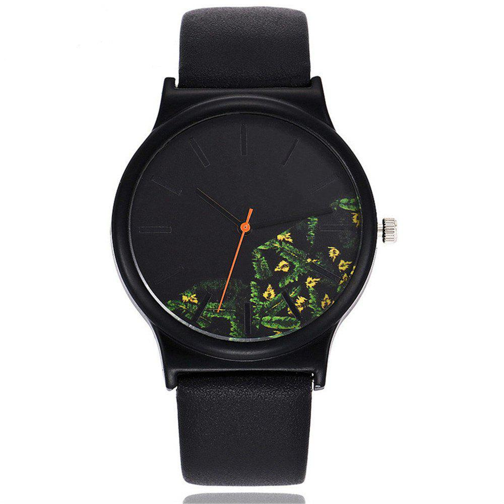 Fashion Vintage Leather Band Women Flower Pattern Casual Quartz Watch