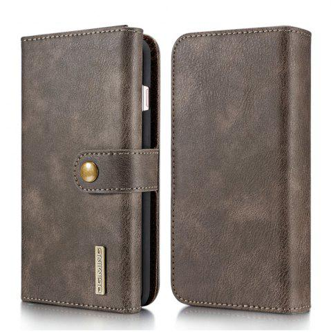 Online DG.MING Premium Genuine Leather Cowhide 3 Folding Wallet Case for iPhone 7 Plus / 8 Plus