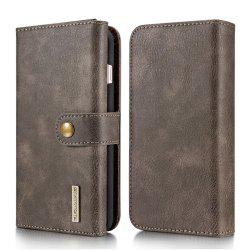 DG.MING Premium Genuine Leather Cowhide 3 Folding Wallet Case for iPhone 7 Plus / 8 Plus -