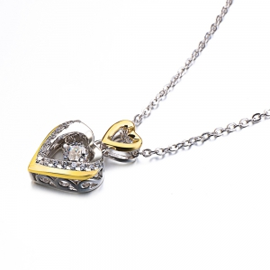 Twinkling Heart Rhodium Plated With Cubic Zirconia Pendant Necklace -