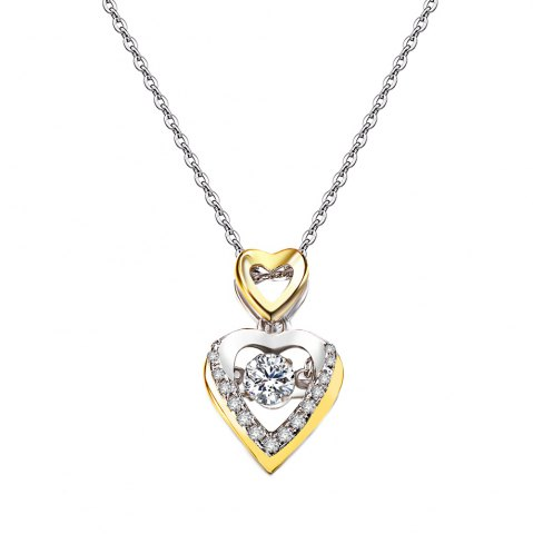 Shop Twinkling Heart Rhodium Plated With Cubic Zirconia Pendant Necklace