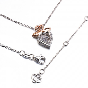 Twinkling Swan Design Rose Gold Plated Cubic Zirconia  Pendant Necklace -