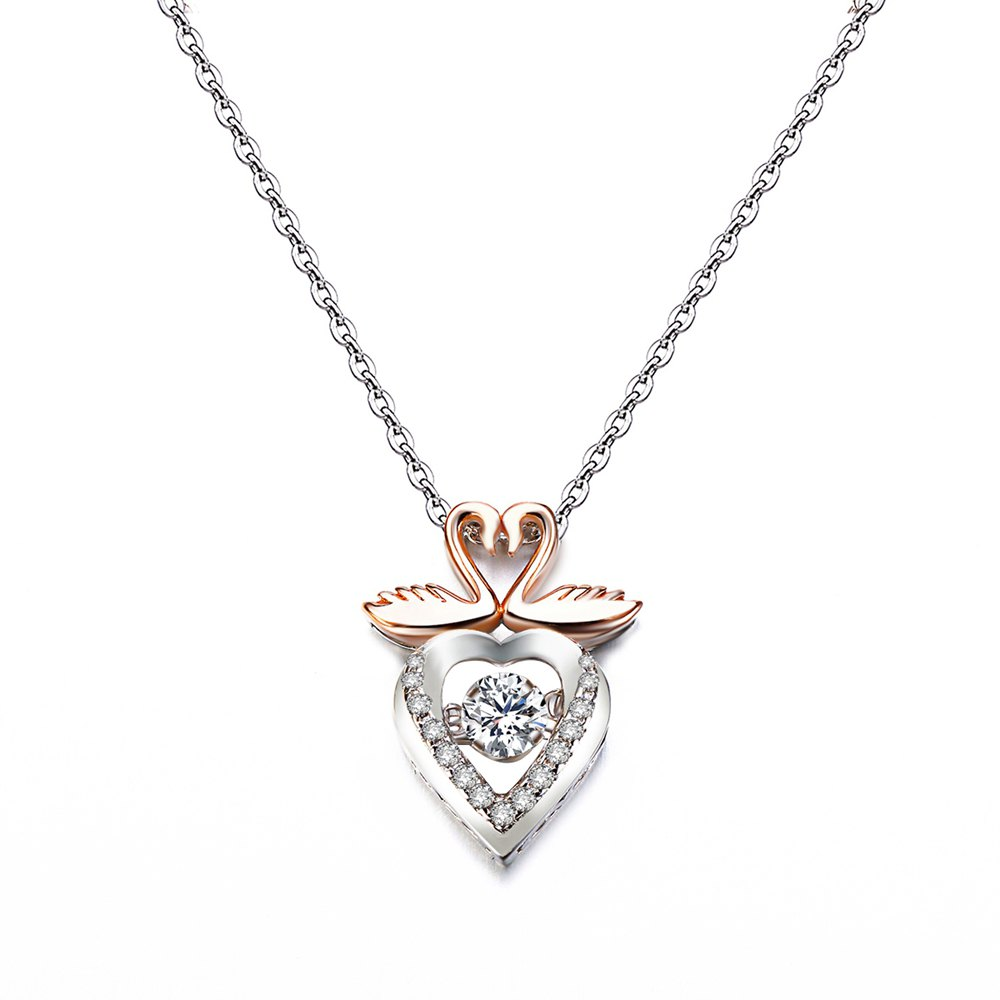 Chic Twinkling Swan Design Rose Gold Plated Cubic Zirconia  Pendant Necklace