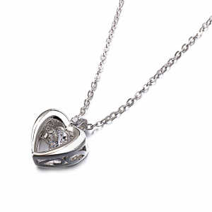 Twinkling Heart Design Rhodium Plated Cubic Zirconia  Pendant Necklace -