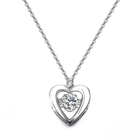 Affordable Twinkling Heart Design Rhodium Plated Cubic Zirconia  Pendant Necklace