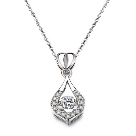 Store Jewelry Twinkling Design Rhodium Plated Cubic Zirconia Pendant Necklace