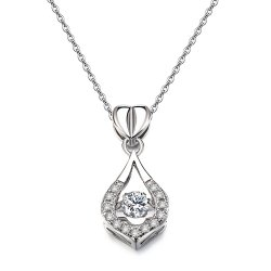 Jewelry Twinkling Design Rhodium Plated Cubic Zirconia Pendant Necklace -