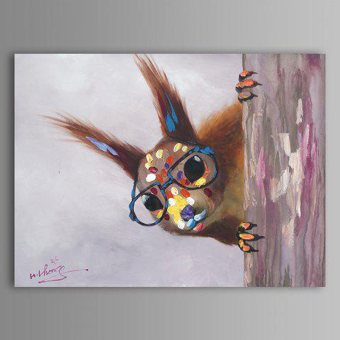 Trendy XiangYunChengFeng   Hand Painted Squirrel Animal Oil Painting
