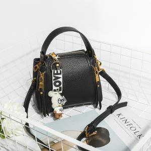 Women's Handbag Solid Flower Pattern Bear Pendant Versatile Bag -