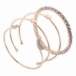 4pcs Simple Style Star moon Love Bracelets with Diamond Charm Jewelrys -