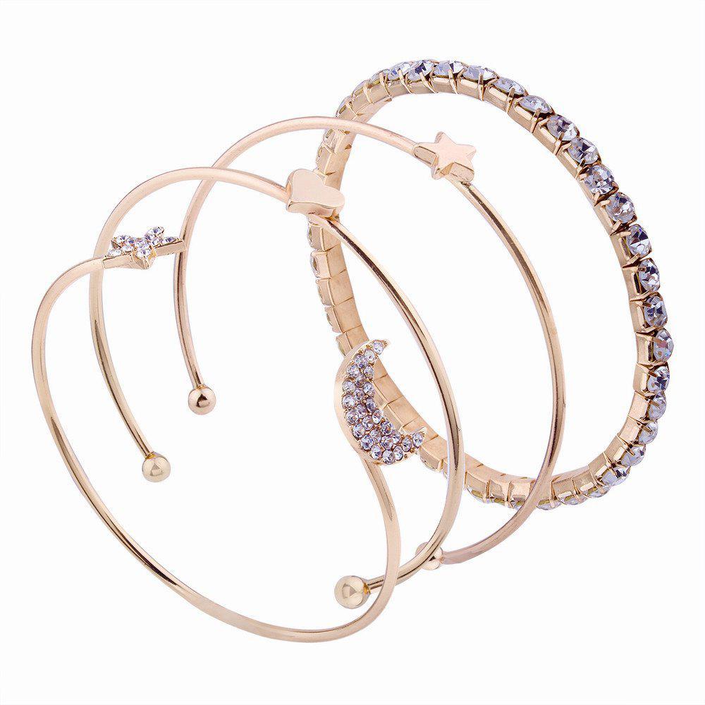 Fashion 4pcs Simple Style Star moon Love Bracelets with Diamond Charm Jewelrys