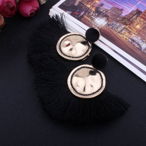 Fashion Design Fan-shaped Tassel Earrings Circular Alloy Charm Jewelry -