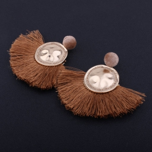 Модный дизайн Фэн-формы Tassel Earrings Circular Alloy Charm Jewelry -