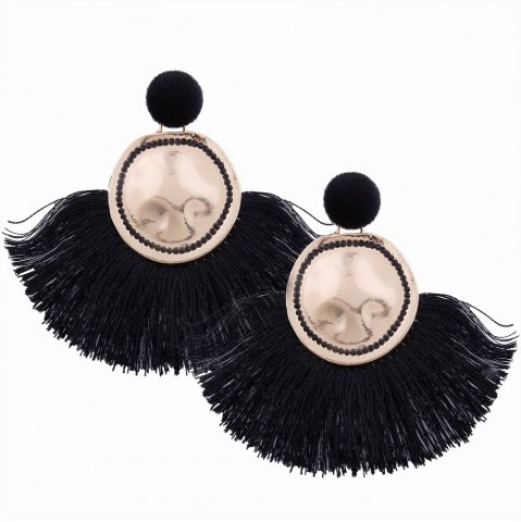 Hot Fashion Design Fan-shaped Tassel Earrings Circular Alloy Charm Jewelry