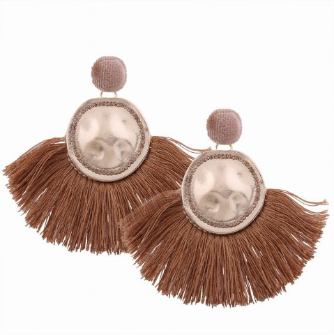 Affordable Fashion Design Fan-shaped Tassel Earrings Circular Alloy Charm Jewelry