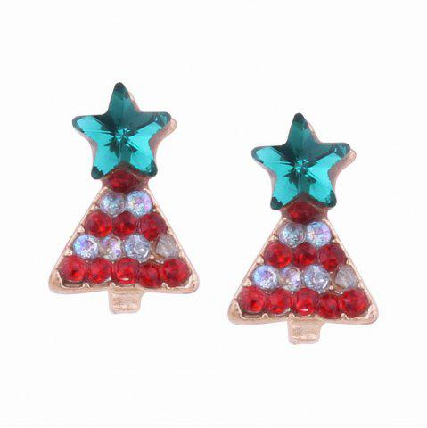 Fashion Design Creative Multicolor Christmas Tree Stud Earrings with Diamond Charm Jewelry